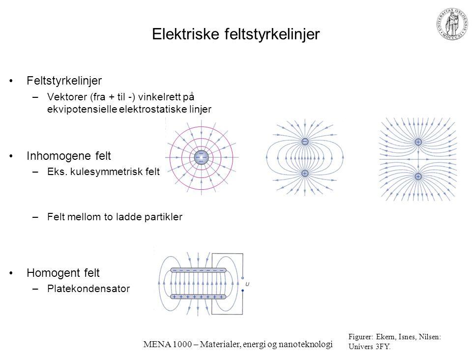 MENA 1000 – Materialer, energi og nanoteknologi Elektriske feltstyrkelinjer Feltstyrkelinjer –Vektorer (fra + til -) vinkelrett på ekvipotensielle ele