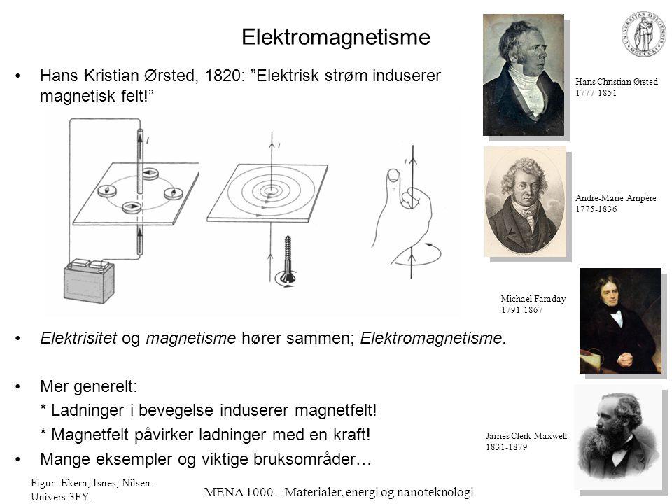 """MENA 1000 – Materialer, energi og nanoteknologi Elektromagnetisme Hans Kristian Ørsted, 1820: """"Elektrisk strøm induserer magnetisk felt!"""" Elektrisitet"""