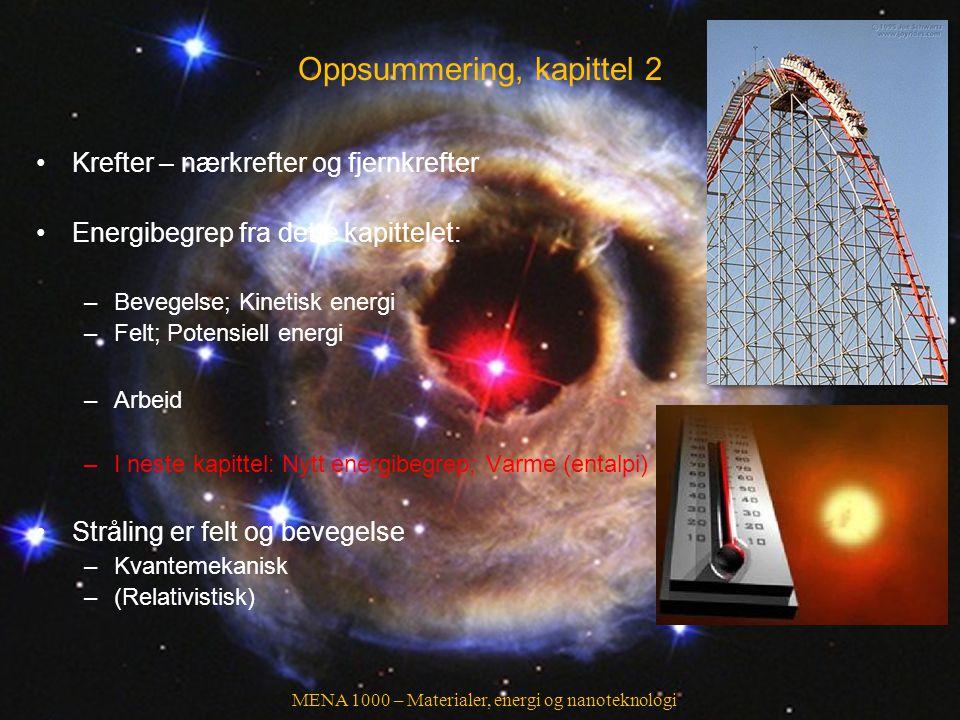 MENA 1000 – Materialer, energi og nanoteknologi Oppsummering, kapittel 2 Krefter – nærkrefter og fjernkrefter Energibegrep fra dette kapittelet: –Beve