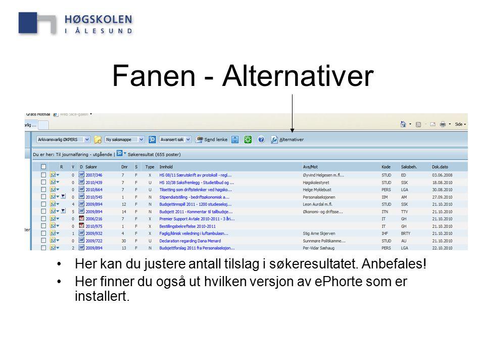 Fanen - Alternativer Her kan du justere antall tilslag i søkeresultatet. Anbefales! Her finner du også ut hvilken versjon av ePhorte som er installert