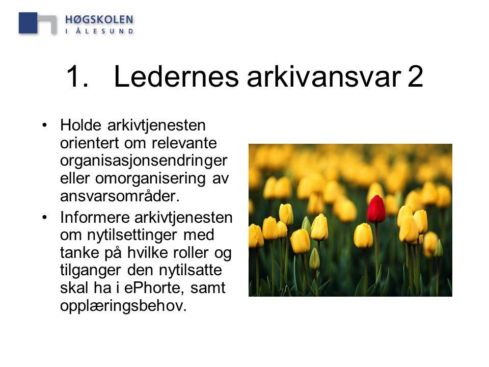 1.Ledernes arkivansvar 2 Holde arkivtjenesten orientert om relevante organisasjonsendringer eller omorganisering av ansvarsområder. Informere arkivtje