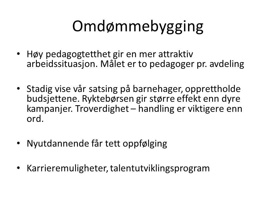 Omdømmebygging Høy pedagogtetthet gir en mer attraktiv arbeidssituasjon.