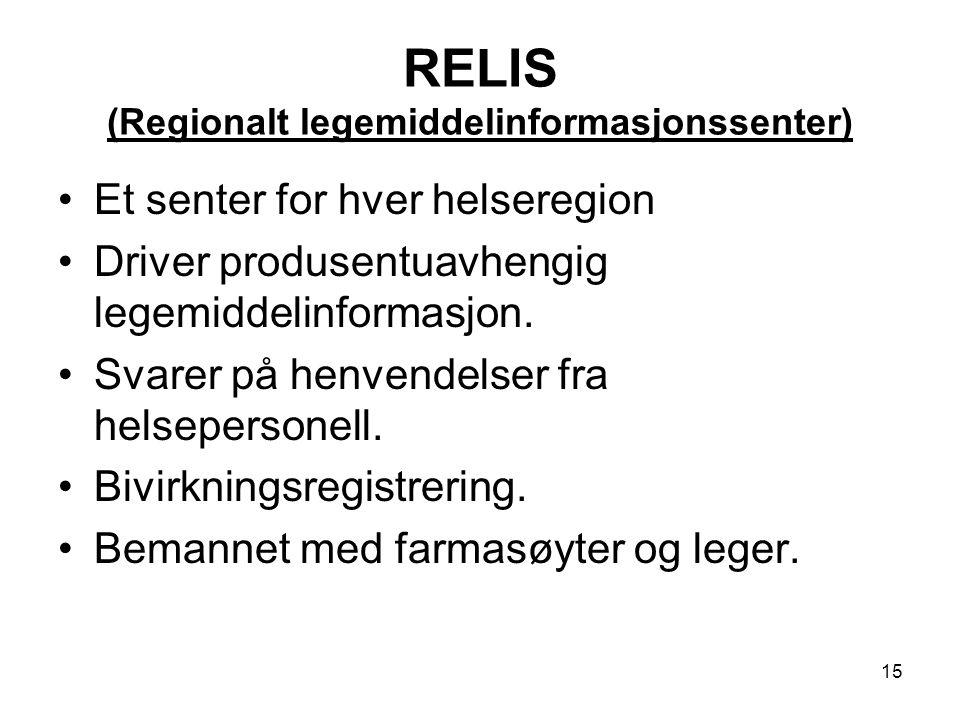 15 RELIS (Regionalt legemiddelinformasjonssenter) Et senter for hver helseregion Driver produsentuavhengig legemiddelinformasjon. Svarer på henvendels