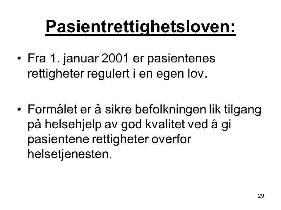 29 Pasientrettighetsloven: Fra 1. januar 2001 er pasientenes rettigheter regulert i en egen lov. Formålet er å sikre befolkningen lik tilgang på helse