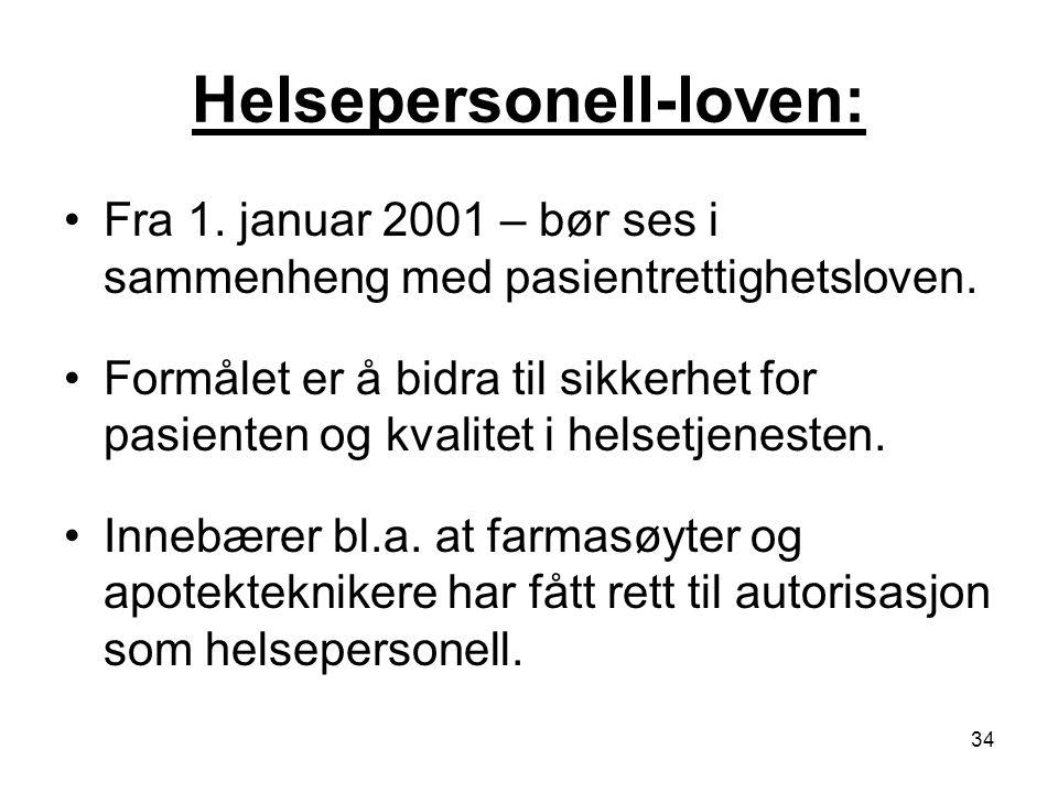 34 Helsepersonell-loven: Fra 1. januar 2001 – bør ses i sammenheng med pasientrettighetsloven. Formålet er å bidra til sikkerhet for pasienten og kval