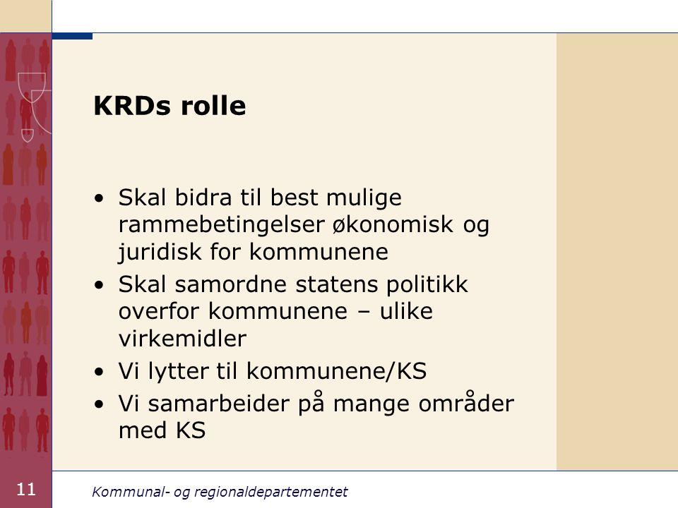 Kommunal- og regionaldepartementet 11 KRDs rolle Skal bidra til best mulige rammebetingelser økonomisk og juridisk for kommunene Skal samordne statens