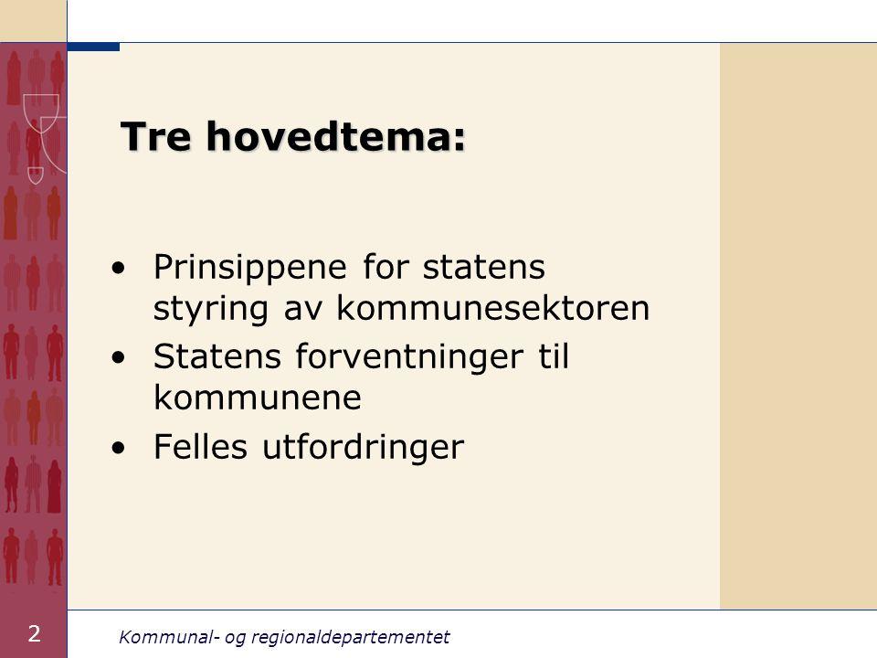 Kommunal- og regionaldepartementet 2 Tre hovedtema: Prinsippene for statens styring av kommunesektoren Statens forventninger til kommunene Felles utfo