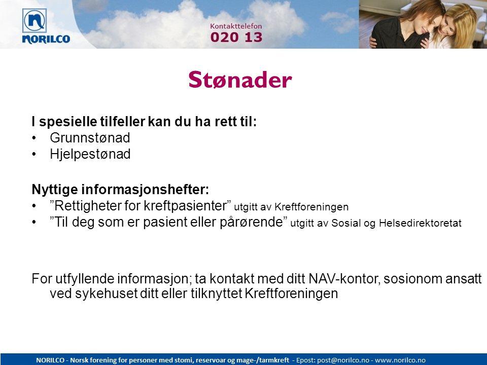 """Stønader I spesielle tilfeller kan du ha rett til: Grunnstønad Hjelpestønad Nyttige informasjonshefter: """"Rettigheter for kreftpasienter"""" utgitt av Kre"""