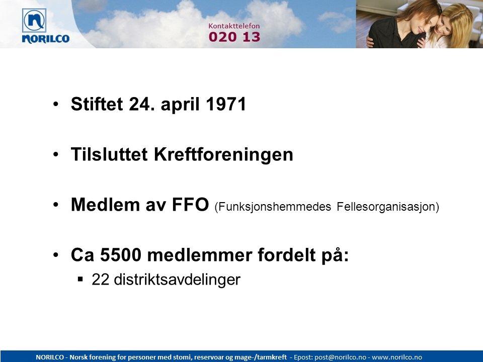 Stiftet 24. april 1971 Tilsluttet Kreftforeningen Medlem av FFO (Funksjonshemmedes Fellesorganisasjon) Ca 5500 medlemmer fordelt på:  22 distriktsavd