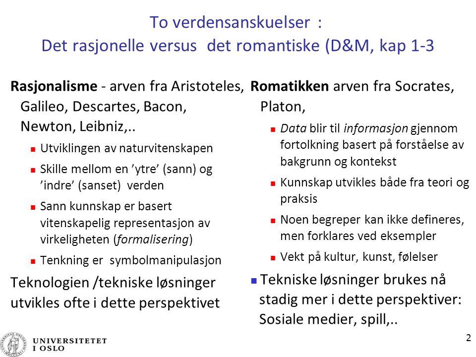 2 To verdensanskuelser : Det rasjonelle versus det romantiske (D&M, kap 1-3 Rasjonalisme - arven fra Aristoteles, Galileo, Descartes, Bacon, Newton, L