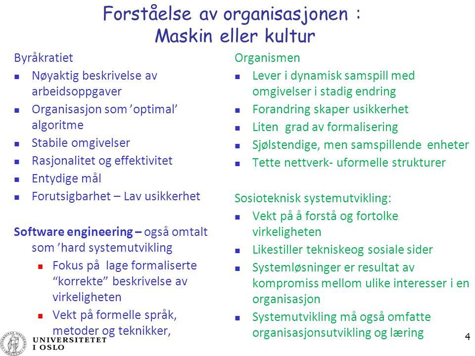 4 Forståelse av organisasjonen : Maskin eller kultur Byråkratiet Nøyaktig beskrivelse av arbeidsoppgaver Organisasjon som 'optimal' algoritme Stabile