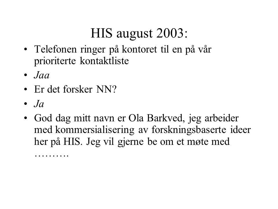 HIS august 2003: Telefonen ringer på kontoret til en på vår prioriterte kontaktliste Jaa Er det forsker NN.