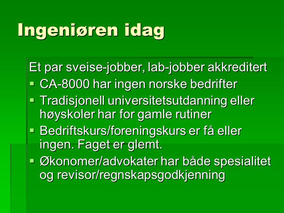 Ingeniøren idag Et par sveise-jobber, lab-jobber akkreditert  CA-8000 har ingen norske bedrifter  Tradisjonell universitetsutdanning eller høyskoler har for gamle rutiner  Bedriftskurs/foreningskurs er få eller ingen.
