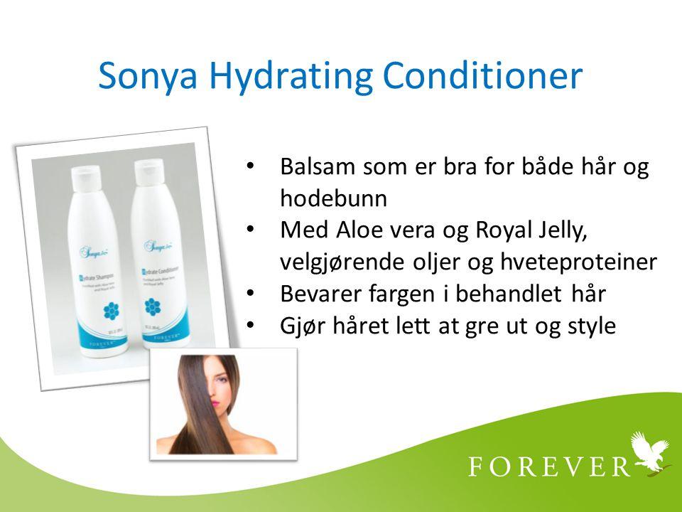 Sonya Hydrating Conditioner Balsam som er bra for både hår og hodebunn Med Aloe vera og Royal Jelly, velgjørende oljer og hveteproteiner Bevarer fargen i behandlet hår Gjør håret lett at gre ut og style