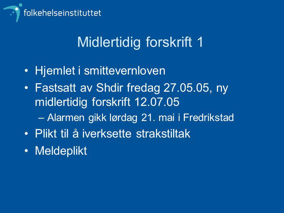 Midlertidig forskrift 1 Hjemlet i smittevernloven Fastsatt av Shdir fredag 27.05.05, ny midlertidig forskrift 12.07.05 –Alarmen gikk lørdag 21.