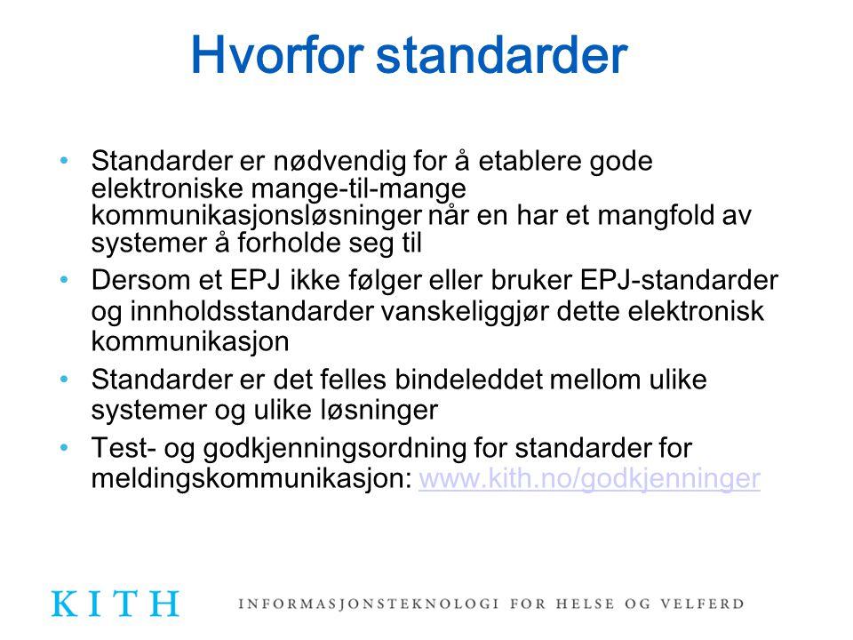 En helhet av standarder, kravspesifikasjoner EPJ standard - Arkitektur, arkivering og tilgangsstyring Div generelle standarder for EPJ innhold (Journalnotat, CAVE, legemidler, individuell plan,...) og meldinger (Epikrise, Lab...) Kravspesifikasjoner fra tiltak 11 Felles krav til journalinnhold for spesialisthelsetjenesten Brukergrensesnitt EPJ-system for spesialisthelsetjenesten (Tiltak 11?) Kravspesifikasjon PLO Brukergrensesnitt EPJ for PLO Krav kreft (Tiltak 13) Krav psykiatri (Tiltak 13)