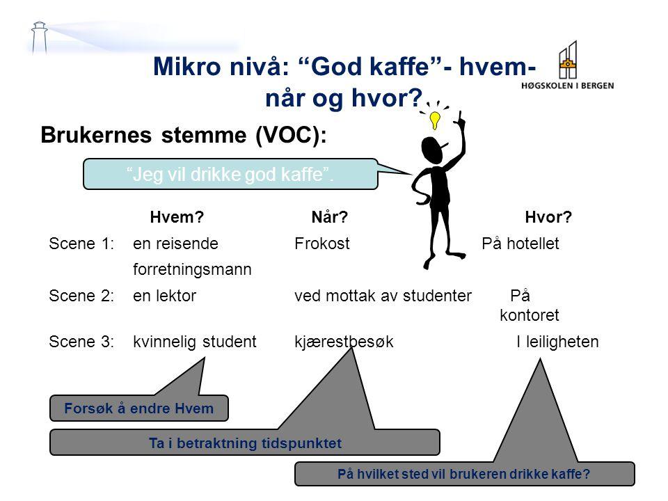 """På hvilket sted vil brukeren drikke kaffe? Ta i betraktning tidspunktet Forsøk å endre Hvem Mikro nivå: """"God kaffe""""- hvem- når og hvor? Brukernes stem"""