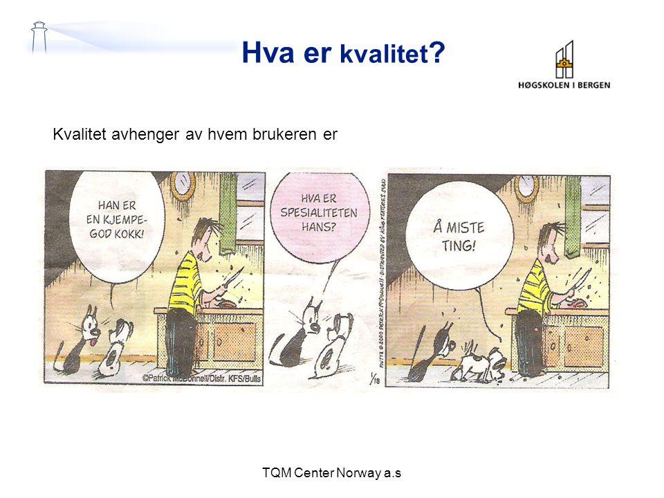 Hva er kvalitet ? TQM Center Norway a.s Kvalitet avhenger av hvem brukeren er