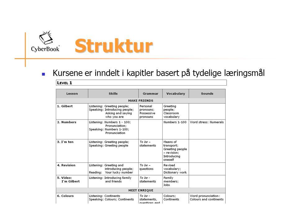 Struktur Struktur Kursene er inndelt i kapitler basert på tydelige læringsmål