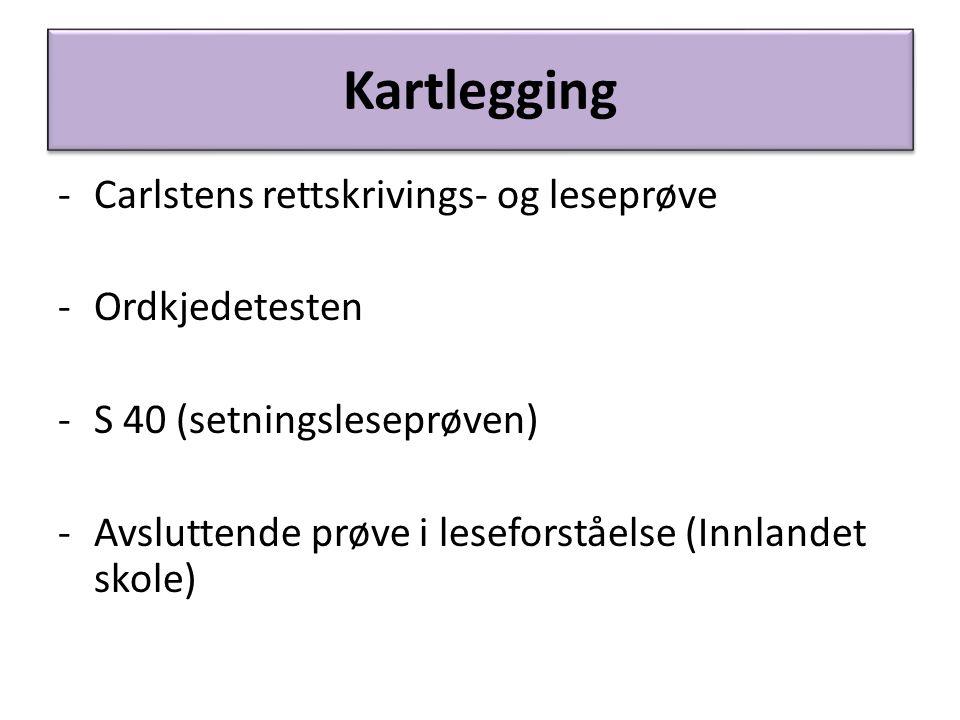 Kartlegging -Carlstens rettskrivings- og leseprøve -Ordkjedetesten -S 40 (setningsleseprøven) -Avsluttende prøve i leseforståelse (Innlandet skole)