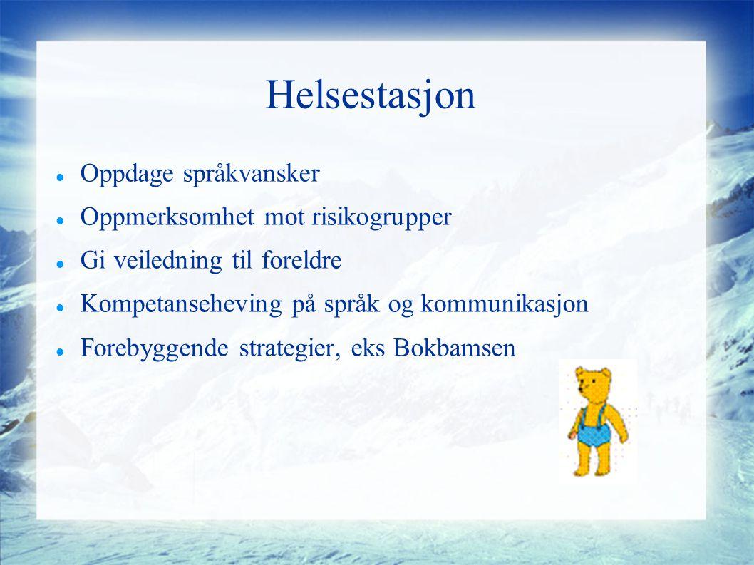Helsestasjon Oppdage språkvansker Oppmerksomhet mot risikogrupper Gi veiledning til foreldre Kompetanseheving på språk og kommunikasjon Forebyggende strategier, eks Bokbamsen