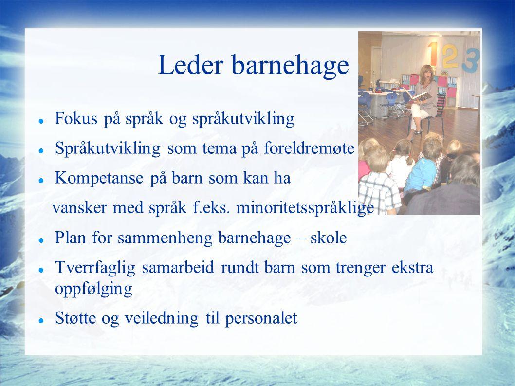 Leder barnehage Fokus på språk og språkutvikling Språkutvikling som tema på foreldremøte Kompetanse på barn som kan ha vansker med språk f.eks.