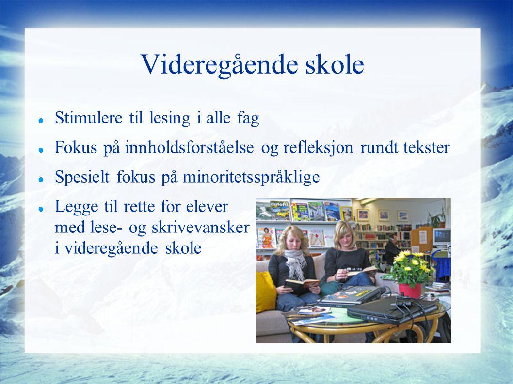Videregående skole Stimulere til lesing i alle fag Fokus på innholdsforståelse og refleksjon rundt tekster Spesielt fokus på minoritetsspråklige Legge til rette for elever med lese- og skrivevansker i videregående skole