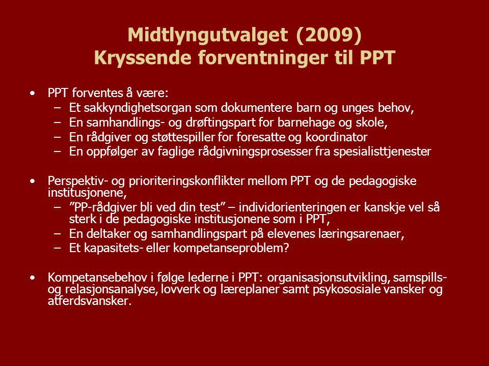 Midtlyngutvalget (2009) Kryssende forventninger til PPT PPT forventes å være: –Et sakkyndighetsorgan som dokumentere barn og unges behov, –En samhandl