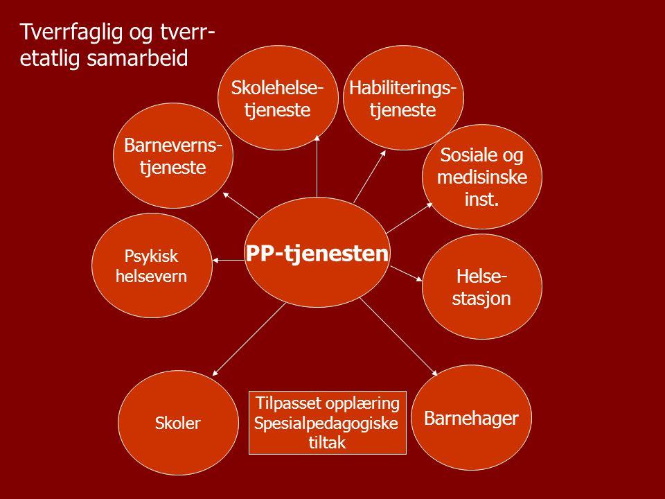 PP-tjenesten Barneverns- tjeneste Psykisk helsevern Helse- stasjon Skolehelse- tjeneste Sosiale og medisinske inst. Barnehager Skoler Tilpasset opplær