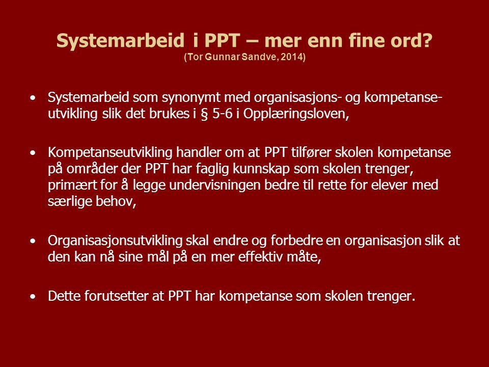 Systemarbeid i PPT – mer enn fine ord? (Tor Gunnar Sandve, 2014) Systemarbeid som synonymt med organisasjons- og kompetanse- utvikling slik det brukes