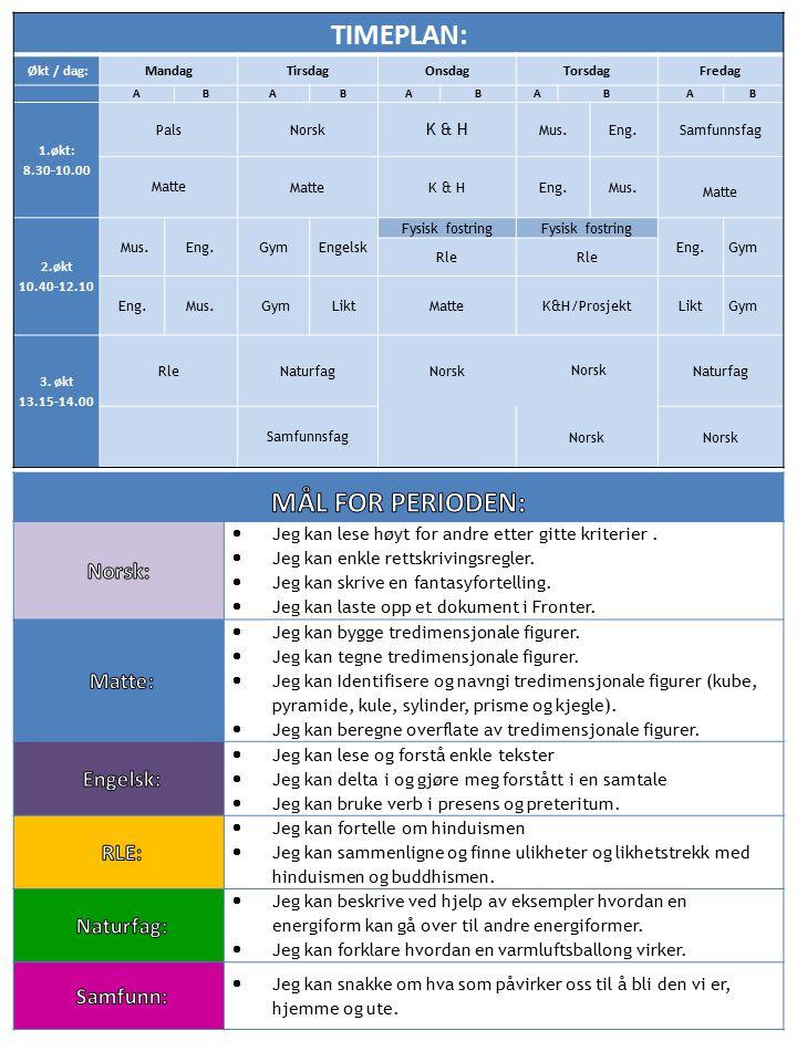 TIMEPLAN: Økt / dag:MandagTirsdagOnsdagTorsdagFredag ABABABABAB 1.økt: 8.30-10.00 Pals Norsk K & H Mus.Eng.Samfunnsfag Matte Matte K & HEng. Mus. Matt