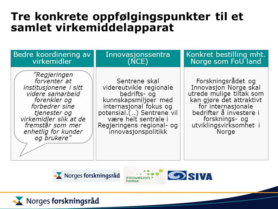 Sentrene skal videreutvikle regionale bedrifts- og kunnskapsmiljøer med internasjonal fokus og potensial.(..) Sentrene vil være helt sentrale i Regjeringens regional- og innovasjonspolitikk Bedre koordinering av virkemidler Tre konkrete oppfølgingspunkter til et samlet virkemiddelapparat Innovasjonssentra (NCE) Forskningsrådet og Innovasjon Norge skal utrede mulige tiltak som kan gjøre det attraktivt for internasjonale bedrifter å investere i forsknings- og utviklingsvirksomhet i Norge Konkret bestilling mht.