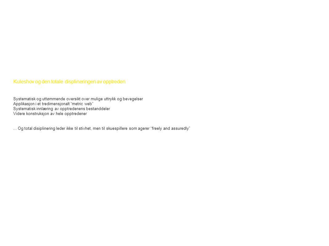 Kuleshov og den totale displineringen av opptreden Systematisk og uttømmende oversikt over mulige uttrykk og bevegelser Applikasjon i et tredimensjonalt metric web Systematisk innlæring av opptredenens bestanddeler Videre konstruksjon av hele opptredener...