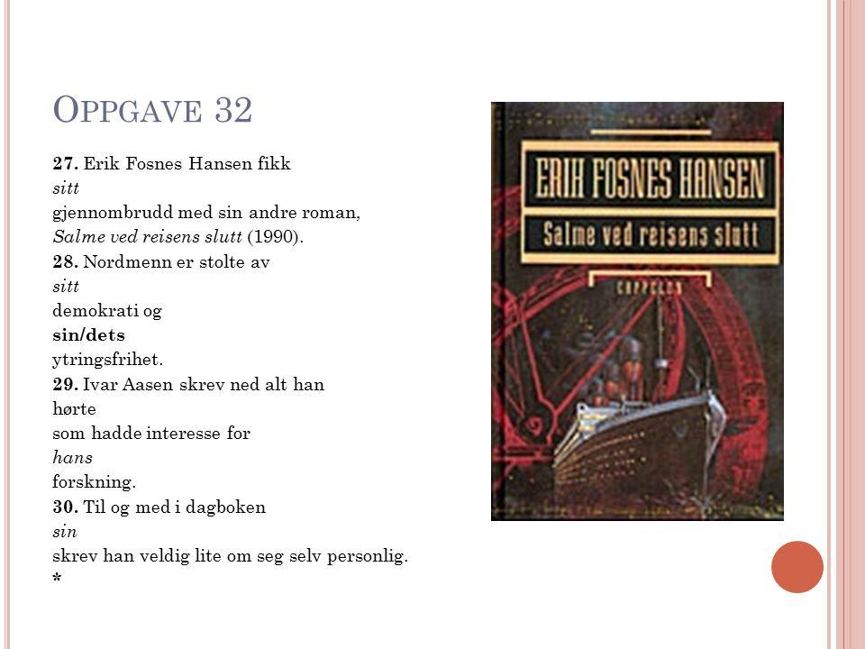 O PPGAVE 32 27. Erik Fosnes Hansen fikk sitt gjennombrudd med sin andre roman, Salme ved reisens slutt (1990). 28. Nordmenn er stolte av sitt demokrat