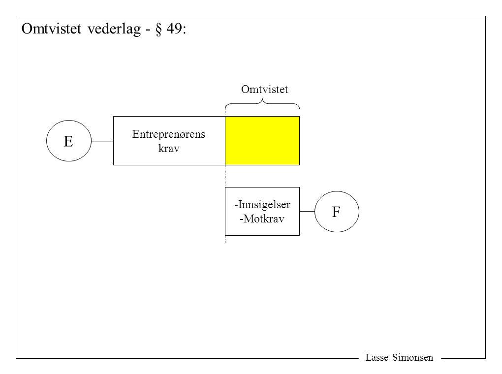 Lasse Simonsen Omtvistet vederlag - § 49: Entreprenørens krav -Innsigelser -Motkrav E F Omtvistet
