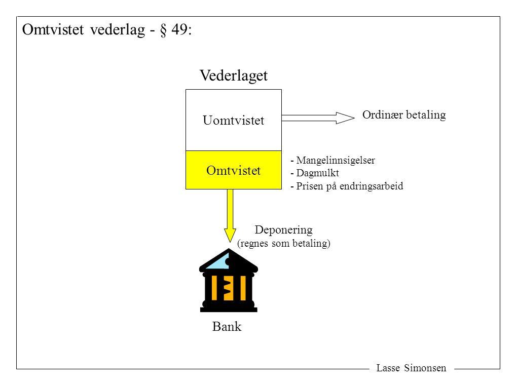 Lasse Simonsen Omtvistet vederlag - § 49: Uomtvistet Omtvistet Vederlaget Bank Deponering (regnes som betaling) Ordinær betaling - Mangelinnsigelser -