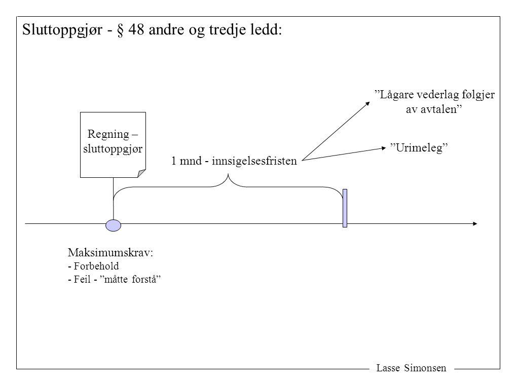 """Lasse Simonsen Sluttoppgjør - § 48 andre og tredje ledd: Regning – sluttoppgjør Maksimumskrav: - Forbehold - Feil - """"måtte forstå"""" 1 mnd - innsigelses"""