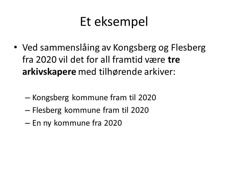 Et eksempel Ved sammenslåing av Kongsberg og Flesberg fra 2020 vil det for all framtid være tre arkivskapere med tilhørende arkiver: – Kongsberg kommu