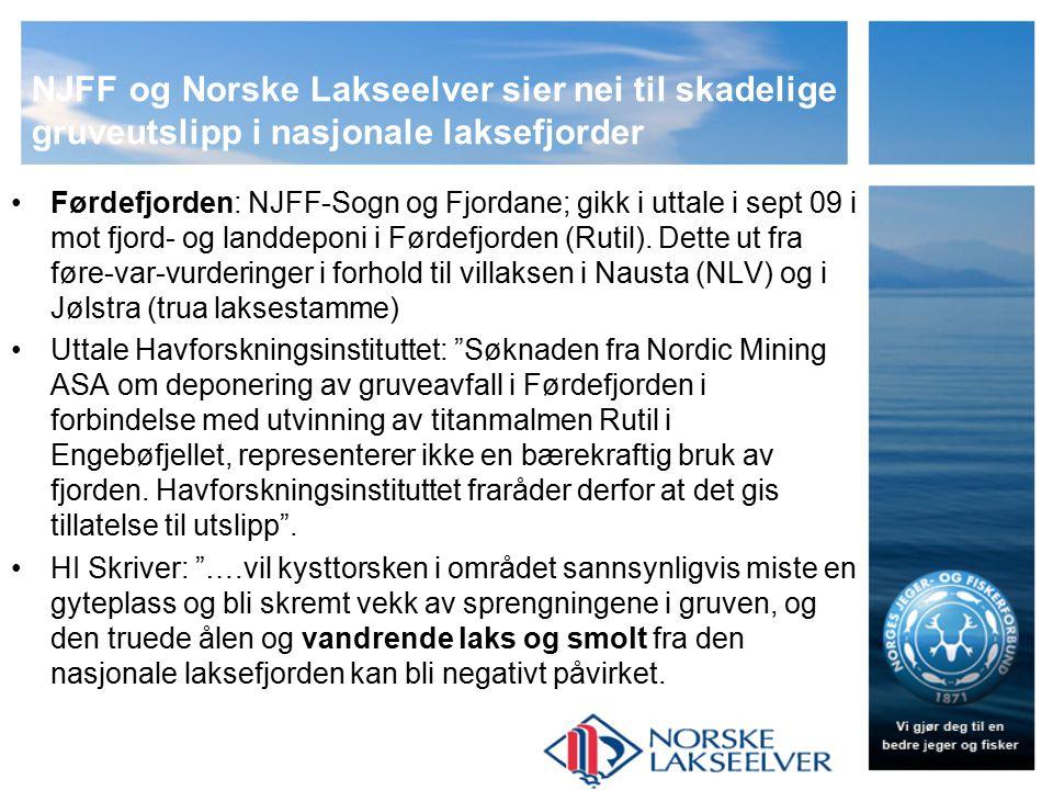 NJFF og NLs syn på miljøutfordringer, kunnskapsbehov/FoU og sameksistens Eks Kvalsundet (NUSSIR, kobbergruve): Vest-Finnmark JFF frykter stor skade igjen på laksestammen i Repparfjordelva Fig.