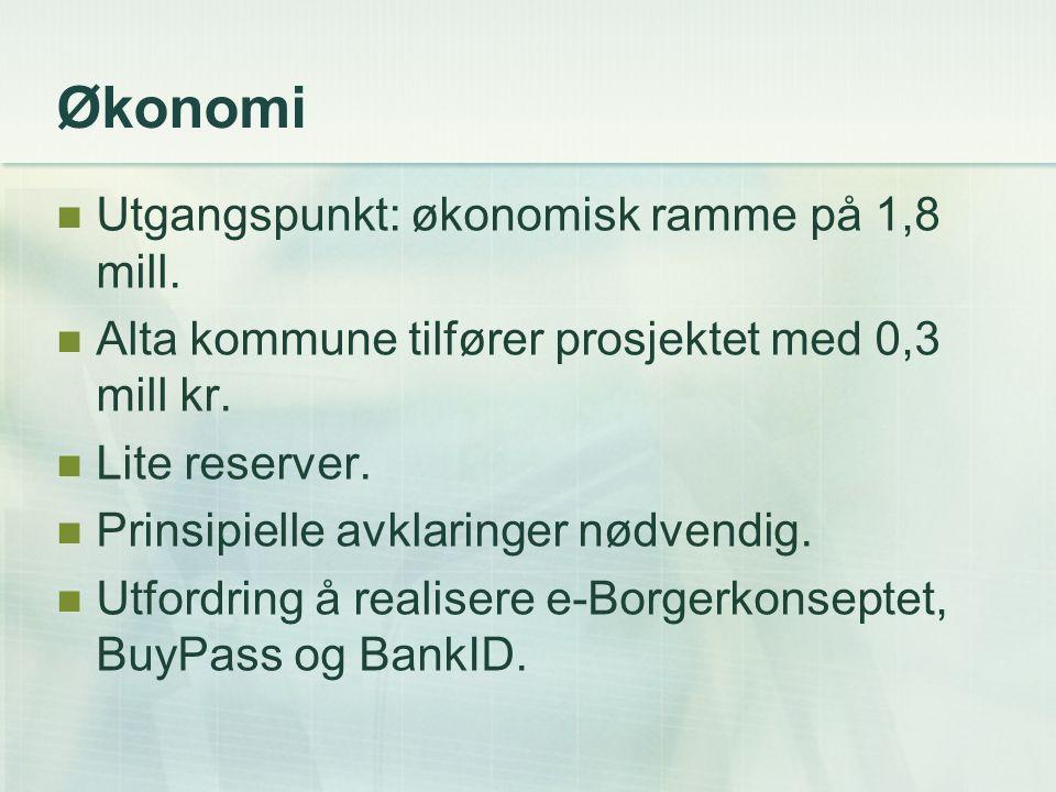 Økonomi Utgangspunkt: økonomisk ramme på 1,8 mill. Alta kommune tilfører prosjektet med 0,3 mill kr. Lite reserver. Prinsipielle avklaringer nødvendig