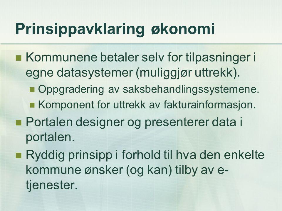 Prinsippavklaring økonomi Kommunene betaler selv for tilpasninger i egne datasystemer (muliggjør uttrekk). Oppgradering av saksbehandlingssystemene. K