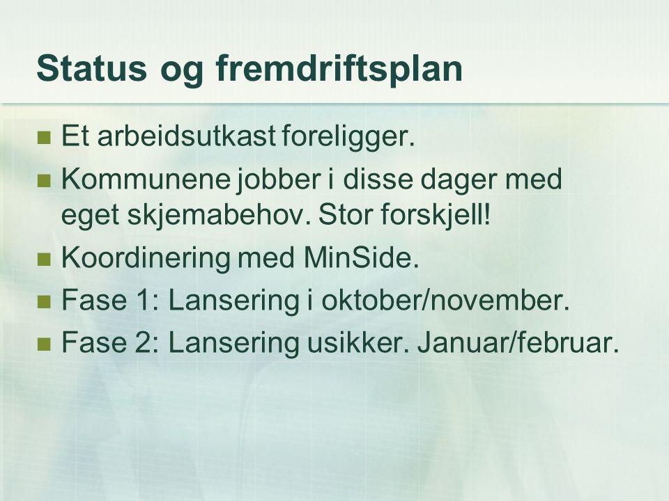 Status og fremdriftsplan Et arbeidsutkast foreligger. Kommunene jobber i disse dager med eget skjemabehov. Stor forskjell! Koordinering med MinSide. F