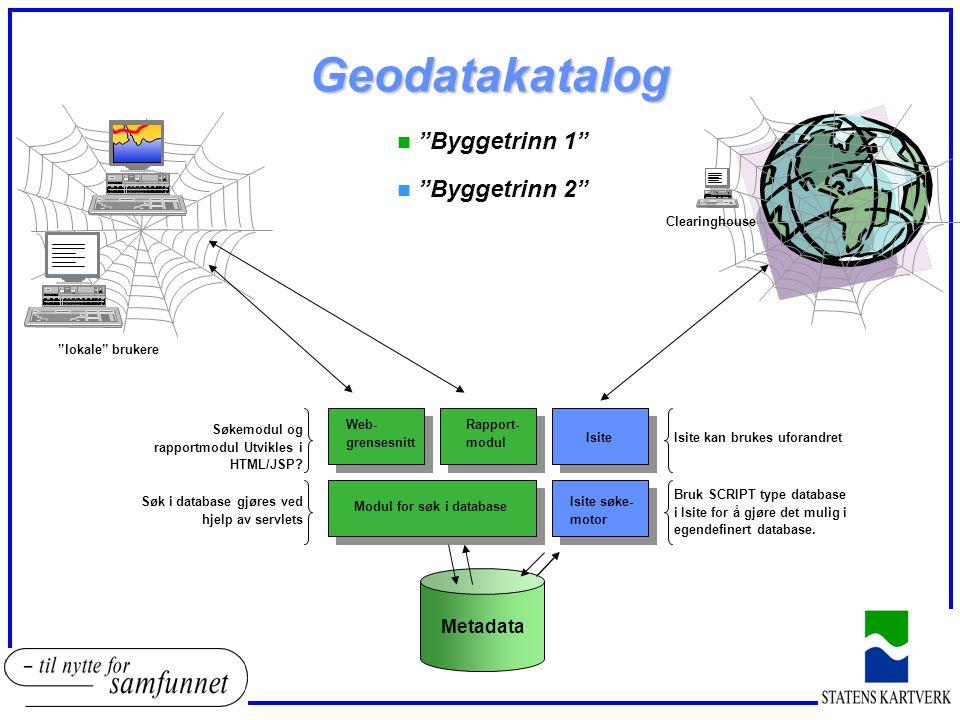 Geodatakatalog Metadata Modul for søk i database Web- grensesnitt Isite Rapport- modul n Byggetrinn 1 n Byggetrinn 2 Isite søke- motor Bruk SCRIPT type database i Isite for å gjøre det mulig i egendefinert database.