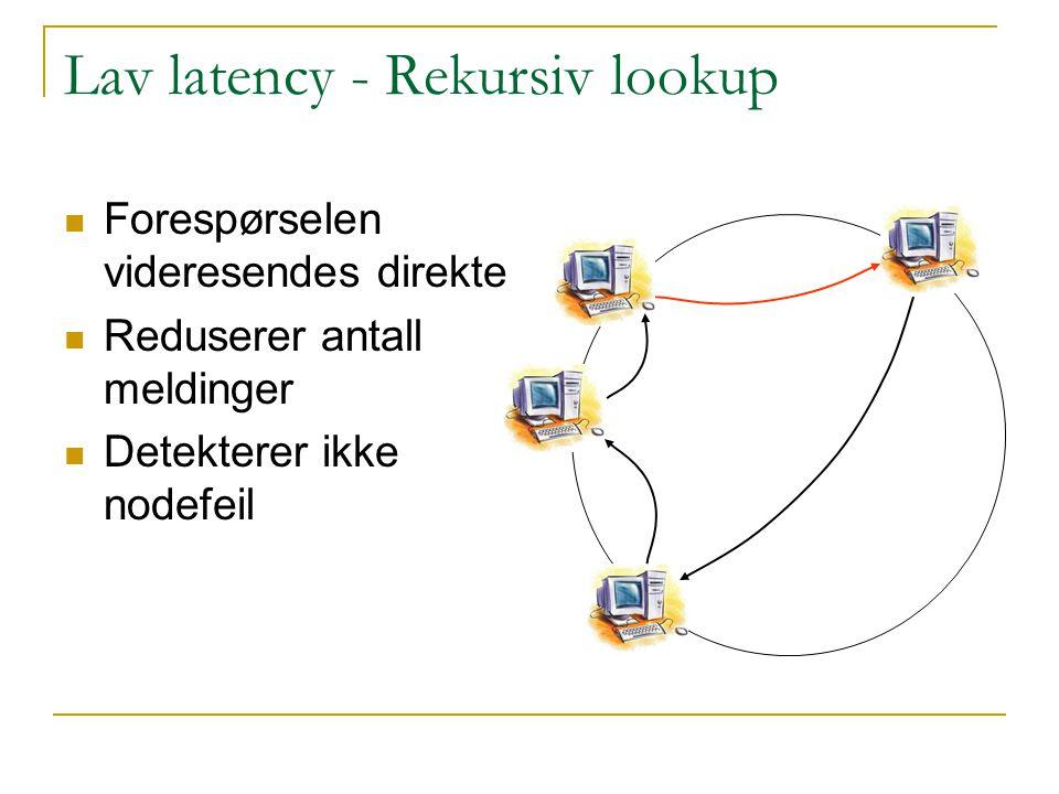 Lav latency - Rekursiv lookup Forespørselen videresendes direkte Reduserer antall meldinger Detekterer ikke nodefeil