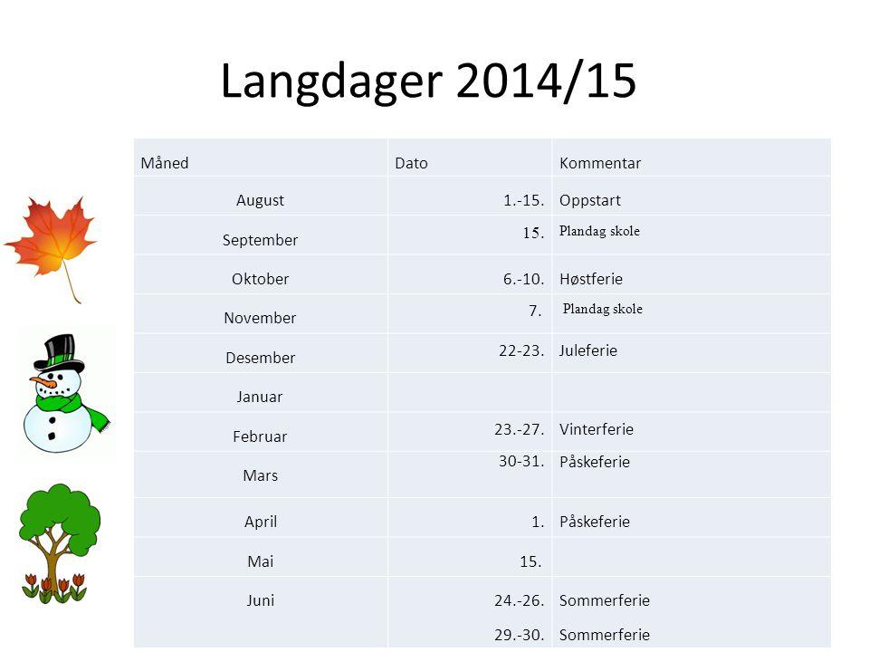Langdager 2014/15 Måned Dato Kommentar August 1.-15.