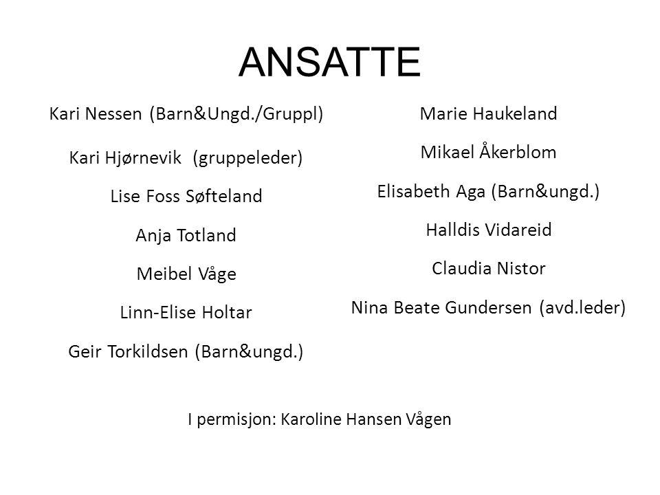 ANSATTE Kari Nessen (Barn&Ungd./Gruppl) Kari Hjørnevik (gruppeleder) Lise Foss Søfteland Anja Totland Meibel Våge Linn-Elise Holtar Geir Torkildsen (B