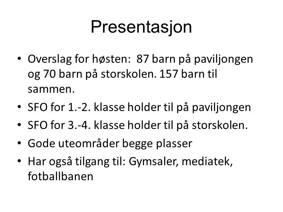 Presentasjon Overslag for høsten: 87 barn på paviljongen og 70 barn på storskolen. 157 barn til sammen. SFO for 1.-2. klasse holder til på paviljongen