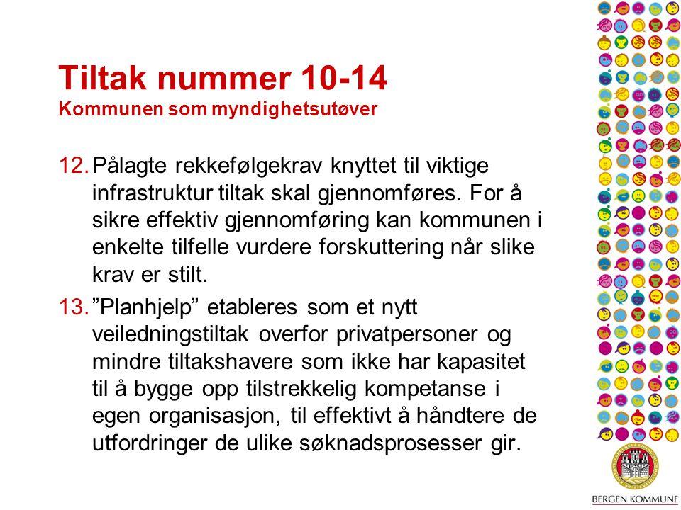 Tiltak nummer 10-14 Kommunen som myndighetsutøver 12.Pålagte rekkefølgekrav knyttet til viktige infrastruktur tiltak skal gjennomføres.