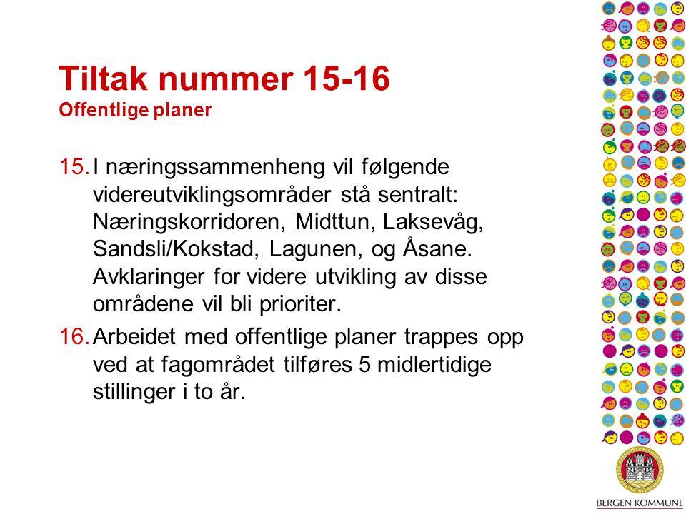 Tiltak nummer 15-16 Offentlige planer 15.I næringssammenheng vil følgende videreutviklingsområder stå sentralt: Næringskorridoren, Midttun, Laksevåg, Sandsli/Kokstad, Lagunen, og Åsane.