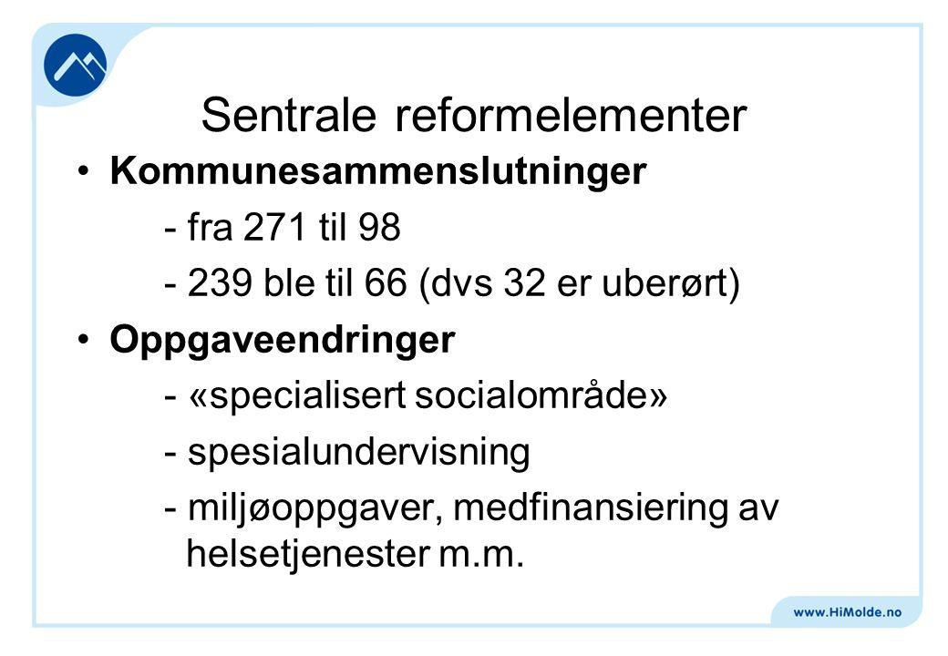 Sentrale reformelementer Kommunesammenslutninger - fra 271 til 98 - 239 ble til 66 (dvs 32 er uberørt) Oppgaveendringer - «specialisert socialområde» - spesialundervisning - miljøoppgaver, medfinansiering av helsetjenester m.m.